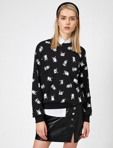 Koton Baskılı Sweatshirt Siyah